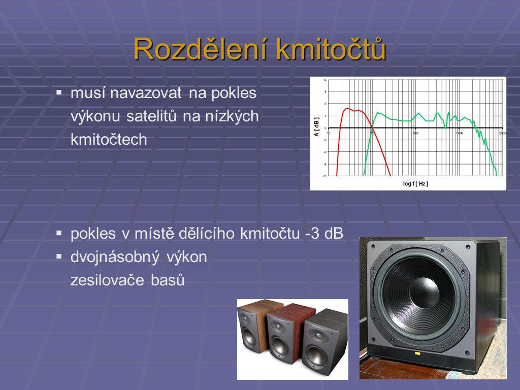 Rozdělení kmitočtů  musí navazovat na pokles výkonu satelitů na nízkých kmitočtech  pokles v místě dělícího kmitočtu -3 dB  dvojnásobný výkon zesilovače basů