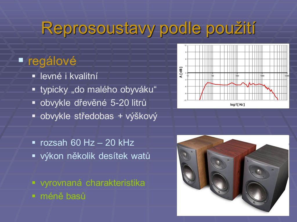 """Reprosoustavy podle použití  regálové  levné i kvalitní  typicky """"do malého obyváku  obvykle dřevěné 5-20 litrů  obvykle středobas + výškový  rozsah 60 Hz – 20 kHz  výkon několik desítek watů  vyrovnaná charakteristika  méně basů"""
