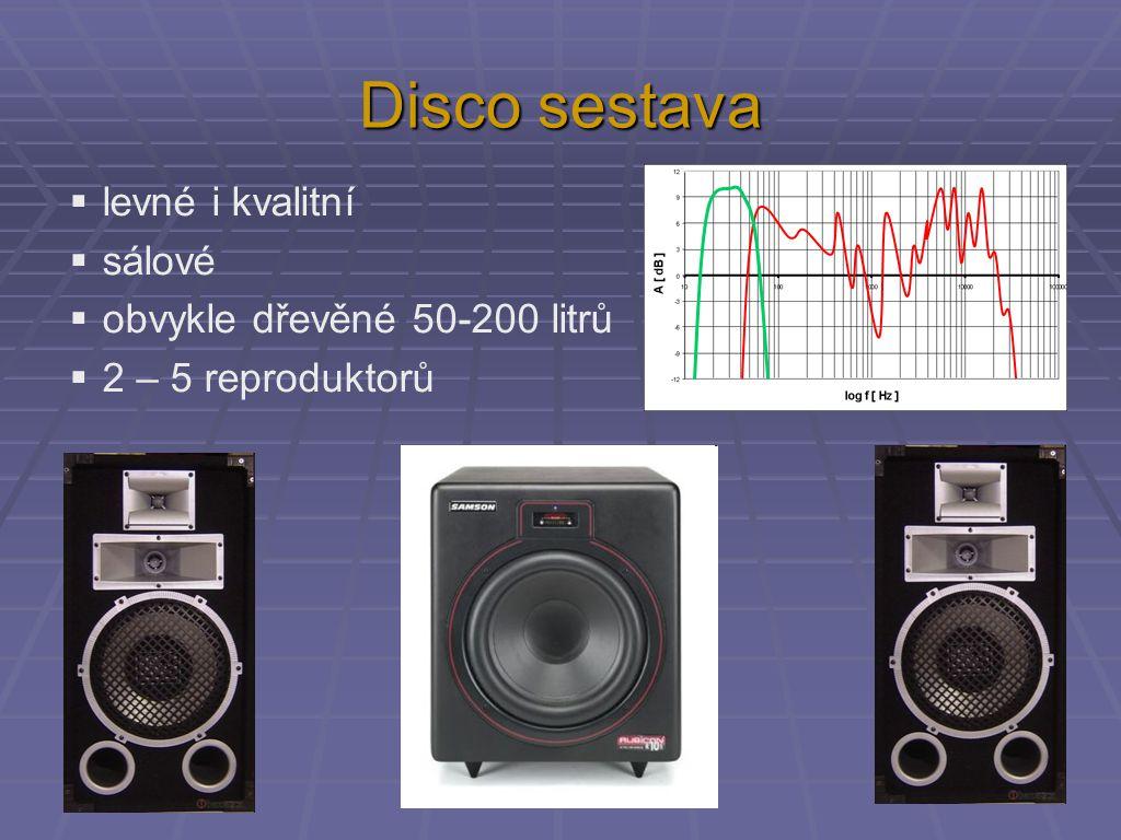 Disco sestava  levné i kvalitní  sálové  obvykle dřevěné 50-200 litrů  2 – 5 reproduktorů