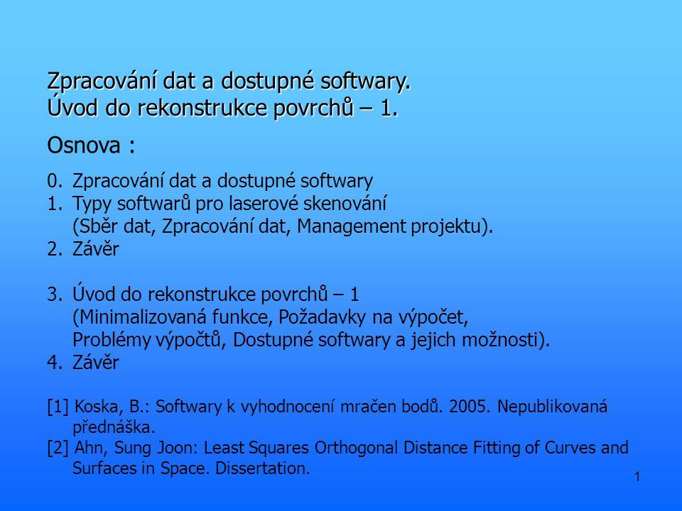 1 Zpracování dat a dostupné softwary. Úvod do rekonstrukce povrchů – 1. Osnova : 0.Zpracování dat a dostupné softwary 1.Typy softwarů pro laserové ske