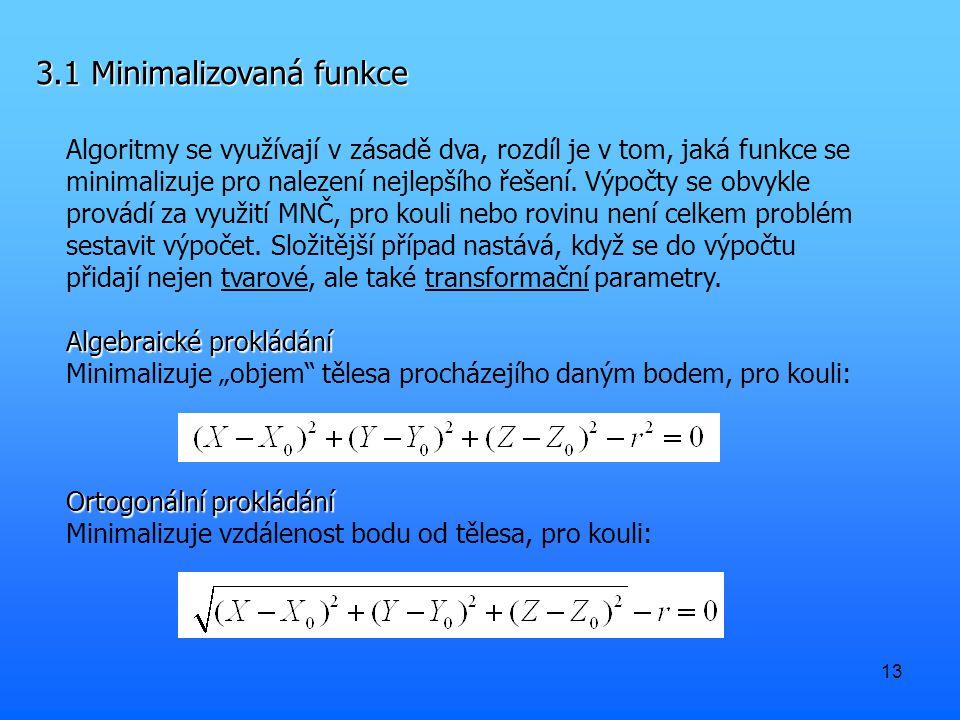 13 3.1 Minimalizovaná funkce Algoritmy se využívají v zásadě dva, rozdíl je v tom, jaká funkce se minimalizuje pro nalezení nejlepšího řešení. Výpočty