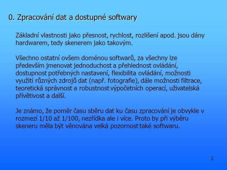 2 0. Zpracování dat a dostupné softwary Základní vlastnosti jako přesnost, rychlost, rozlišení apod. jsou dány hardwarem, tedy skenerem jako takovým.