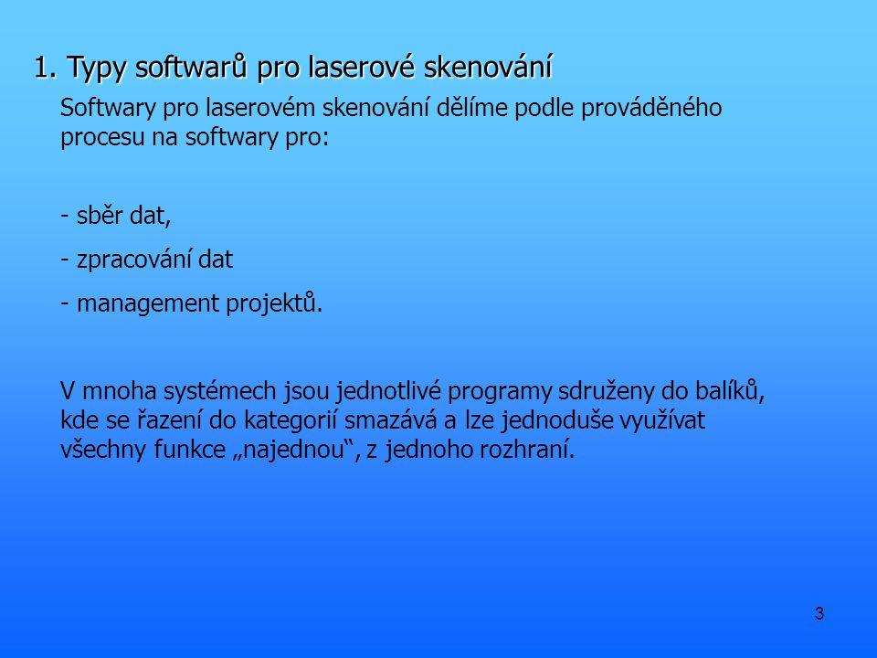 3 1. Typy softwarů pro laserové skenování Softwary pro laserovém skenování dělíme podle prováděného procesu na softwary pro: - sběr dat, - zpracování
