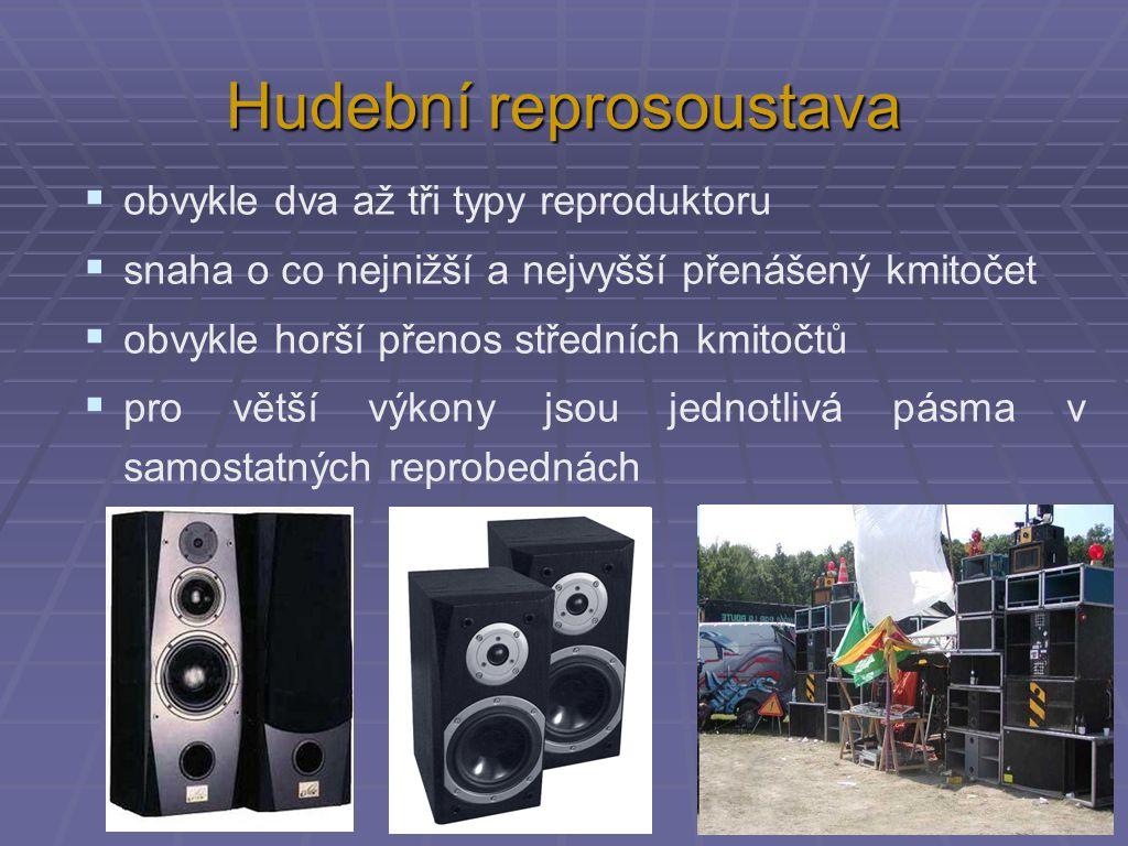 Hudební reprosoustava  obvykle dva až tři typy reproduktoru  snaha o co nejnižší a nejvyšší přenášený kmitočet  obvykle horší přenos středních kmitočtů  pro větší výkony jsou jednotlivá pásma v samostatných reprobednách