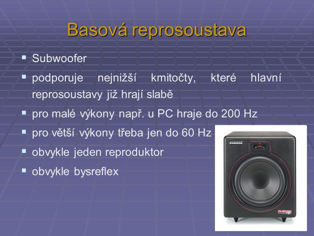 Basová reprosoustava  Subwoofer  podporuje nejnižší kmitočty, které hlavní reprosoustavy již hrají slabě  pro malé výkony např. u PC hraje do 200 H