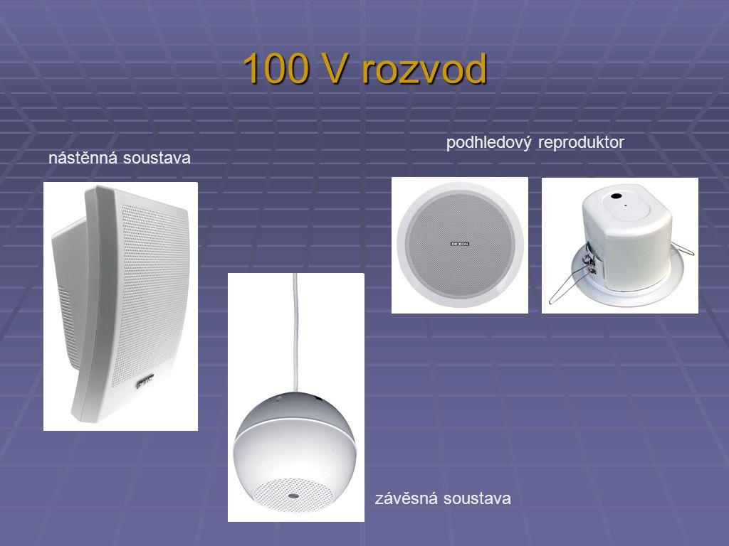 100 V rozvod podhledový reproduktor nástěnná soustava závěsná soustava