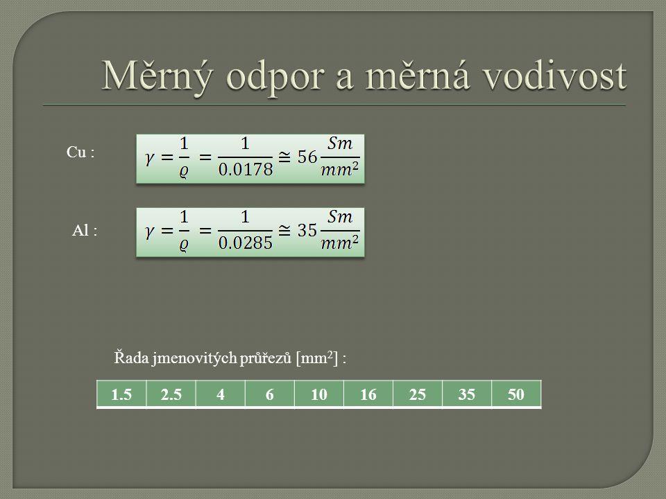 Cu : Al : 1.52.5461016253550 Řada jmenovitých průřezů [mm 2 ] :