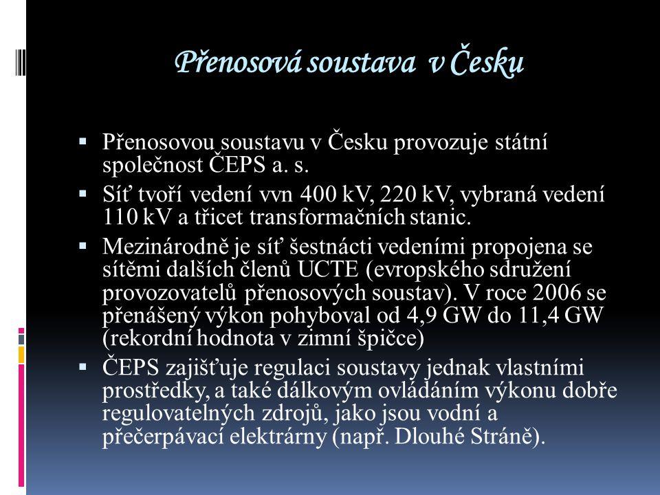Přenosová soustava v Česku  Přenosovou soustavu v Česku provozuje státní společnost ČEPS a. s.  Síť tvoří vedení vvn 400 kV, 220 kV, vybraná vedení