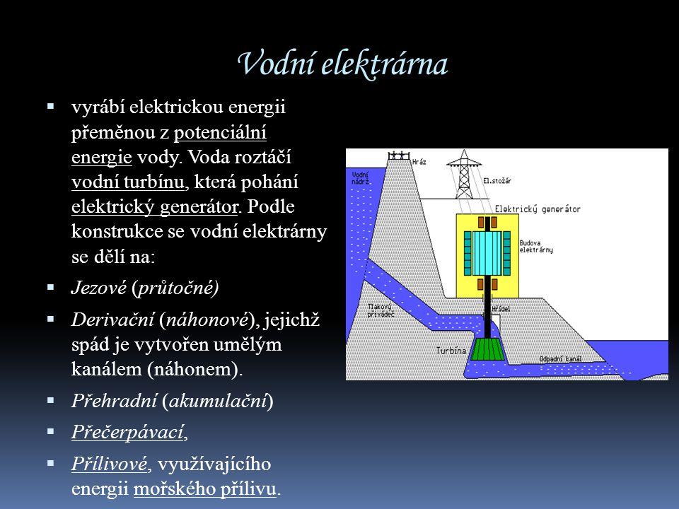 Vodní elektrárna  vyrábí elektrickou energii přeměnou z potenciální energie vody. Voda roztáčí vodní turbínu, která pohání elektrický generátor. Podl