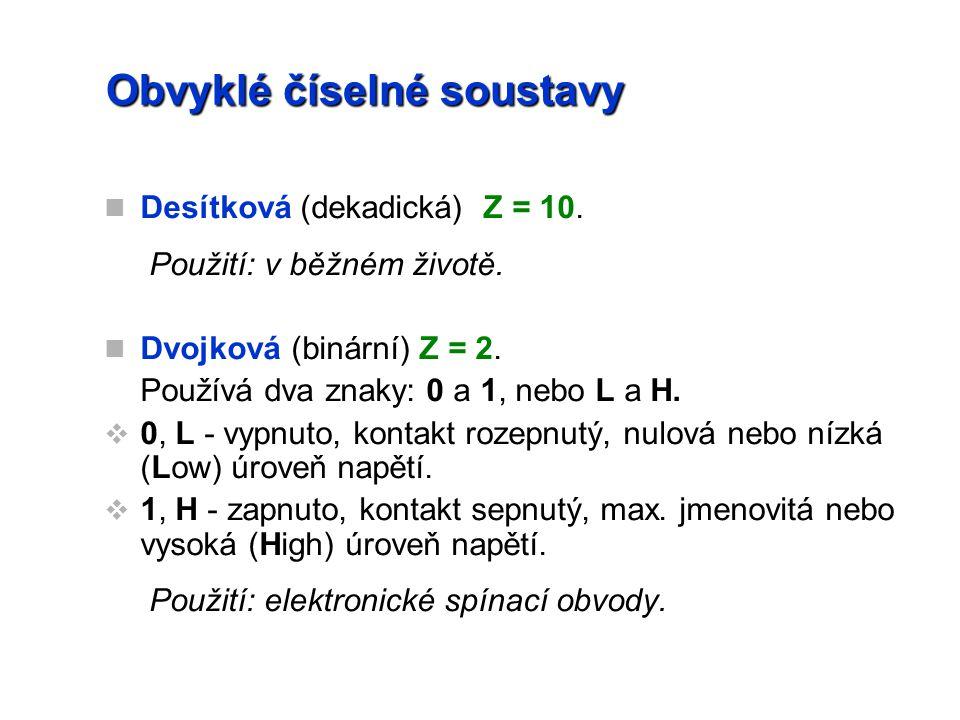 Obvyklé číselné soustavy Desítková (dekadická) Z = 10.
