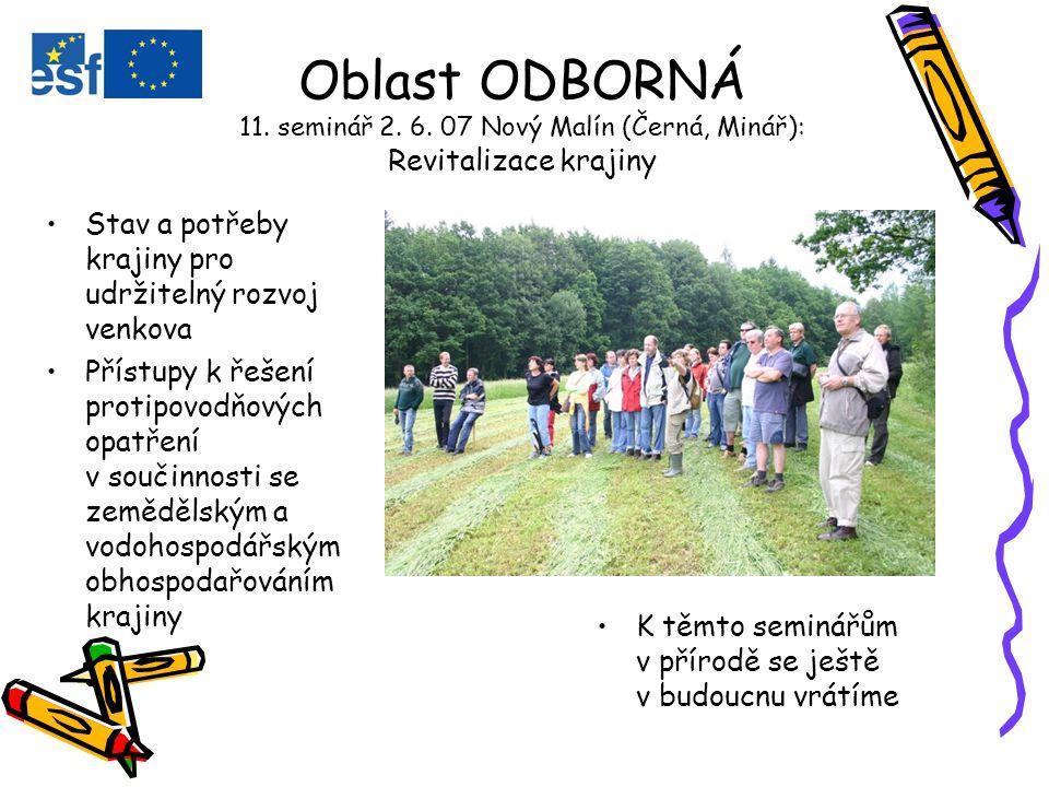Oblast ODBORNÁ 11. seminář 2. 6.