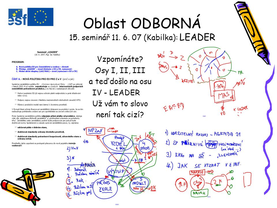 Oblast ODBORNÁ 15. seminář 11. 6. 07 (Kabilka): LEADER Vzpomínáte.
