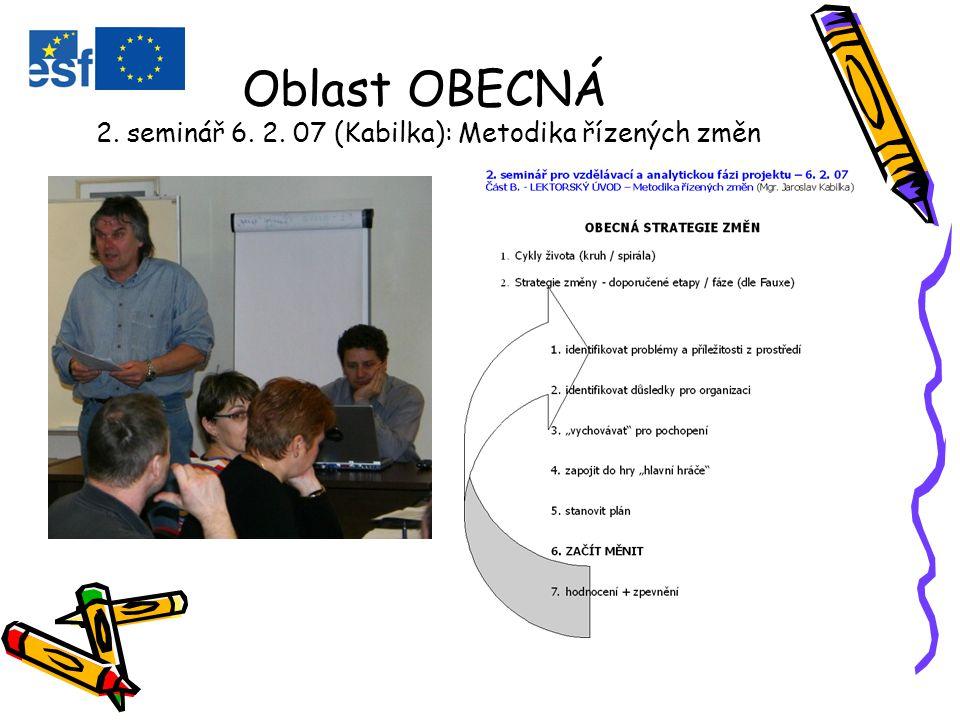 Oblast OBECNÁ 2. seminář 6. 2. 07 (Kabilka): Metodika řízených změn