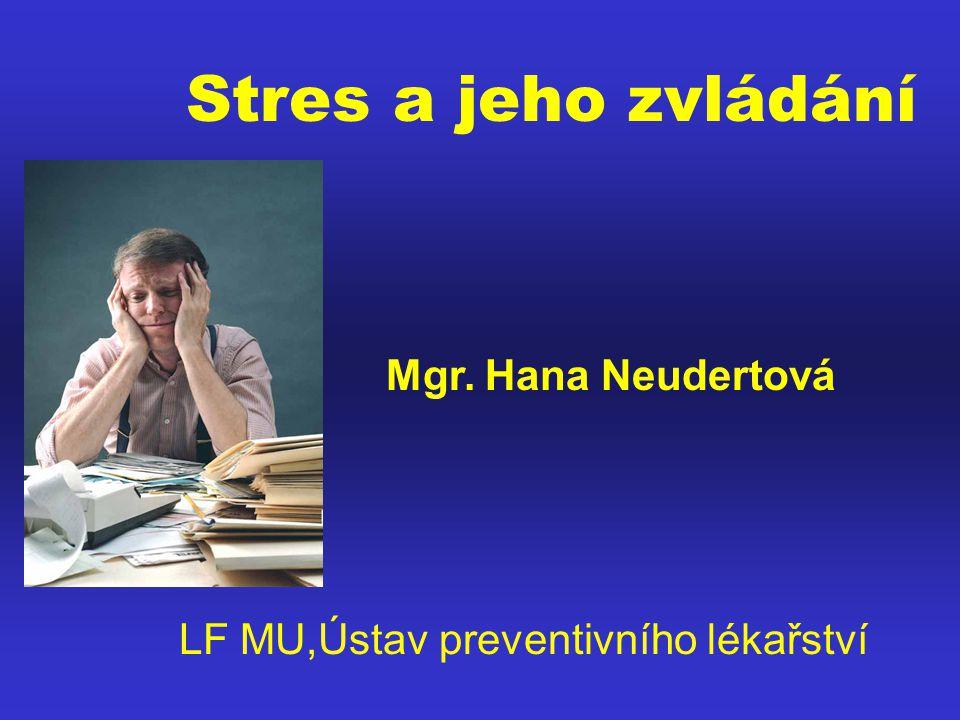 EMOČNÍ ZMĚNY ORGANISMU PŘI STRESU: AKUTNÍ PŘÍZNAKY Cítím se vzrušený Nedokáži se soustředit Pochyby o sobě Mysl se toulá Mysl je urychlena Cítím se nervózní Moc se starám Negativní myšlenky CHRONICKÉ PŘÍZNAKY Předrážděnost Poruchy koncentrace Pocity méněcennosti Zatížen starostmi Pocity frustrovanosti Depresivita Pocity bezmocnosti Pocity osamocenosti Nepružnost, osamocenost