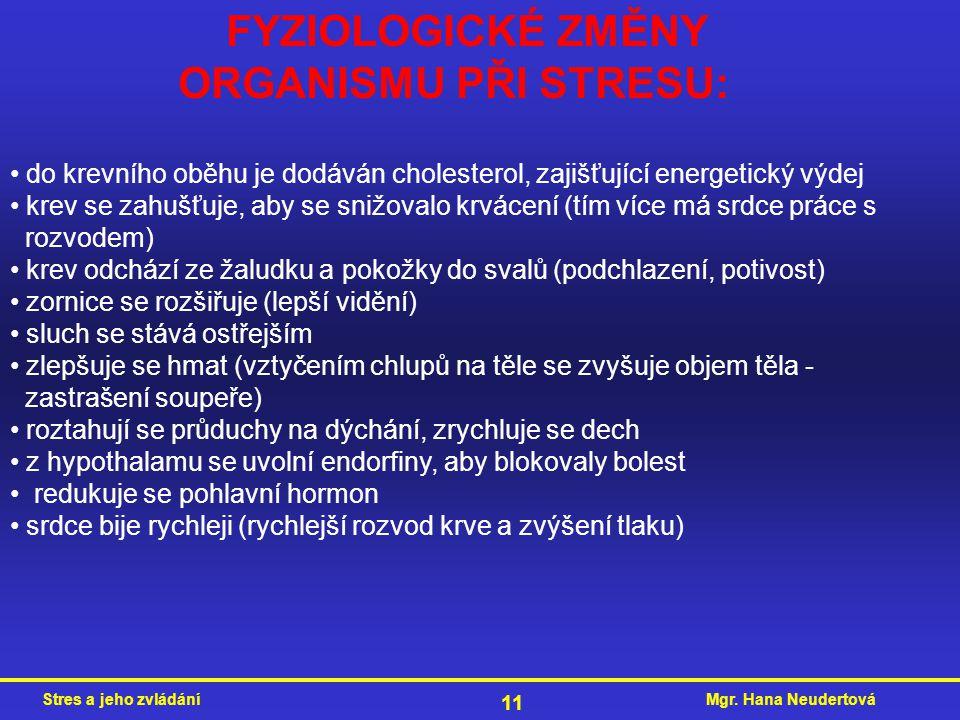 Mgr. Hana NeudertováStres a jeho zvládání 11 FYZIOLOGICKÉ ZMĚNY ORGANISMU PŘI STRESU: do krevního oběhu je dodáván cholesterol, zajišťující energetick