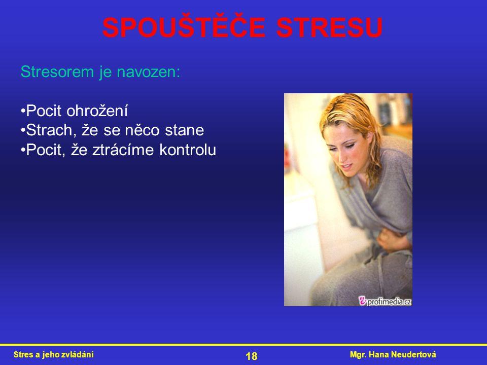 Mgr. Hana NeudertováStres a jeho zvládání 18 SPOUŠTĚČE STRESU Stresorem je navozen: Pocit ohrožení Strach, že se něco stane Pocit, že ztrácíme kontrol