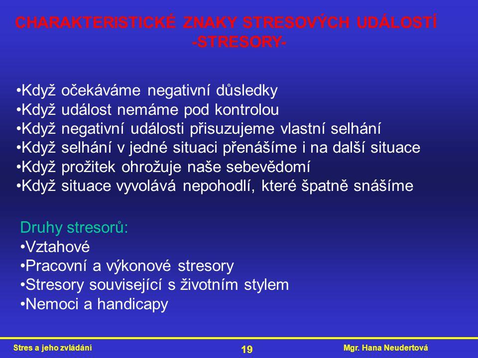Mgr. Hana NeudertováStres a jeho zvládání 19 CHARAKTERISTICKÉ ZNAKY STRESOVÝCH UDÁLOSTÍ -STRESORY- Když očekáváme negativní důsledky Když událost nemá
