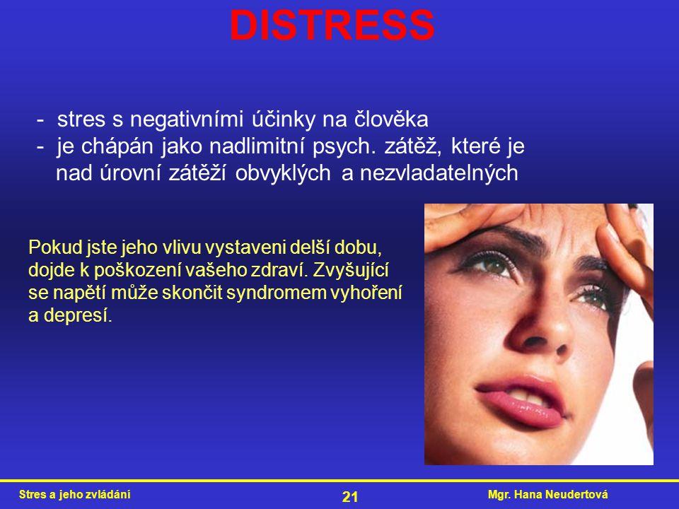 Mgr. Hana NeudertováStres a jeho zvládání 21 - stres s negativními účinky na člověka - je chápán jako nadlimitní psych. zátěž, které je nad úrovní zát