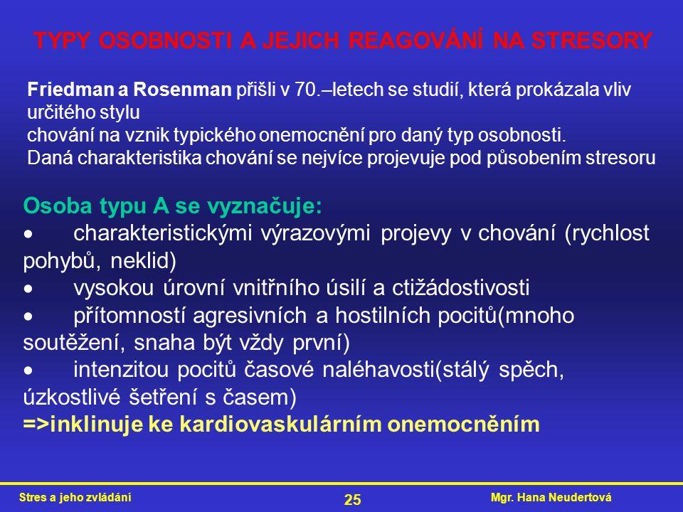 Mgr. Hana NeudertováStres a jeho zvládání 25 TYPY OSOBNOSTI A JEJICH REAGOVÁNÍ NA STRESORY Friedman a Rosenman přišli v 70.–letech se studií, která pr