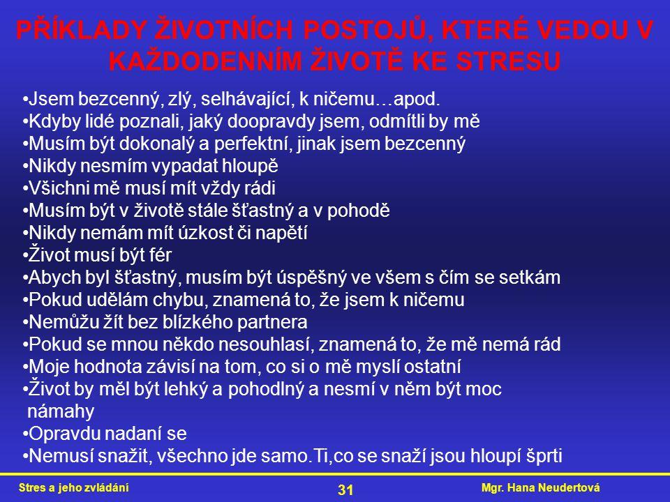 Mgr. Hana NeudertováStres a jeho zvládání 31 PŘÍKLADY ŽIVOTNÍCH POSTOJŮ, KTERÉ VEDOU V KAŽDODENNÍM ŽIVOTĚ KE STRESU Jsem bezcenný, zlý, selhávající, k