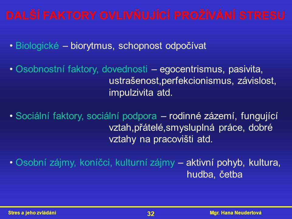 Mgr. Hana NeudertováStres a jeho zvládání 32 DALŠÍ FAKTORY OVLIVŇUJÍCÍ PROŽÍVÁNÍ STRESU Biologické – biorytmus, schopnost odpočívat Osobnostní faktory