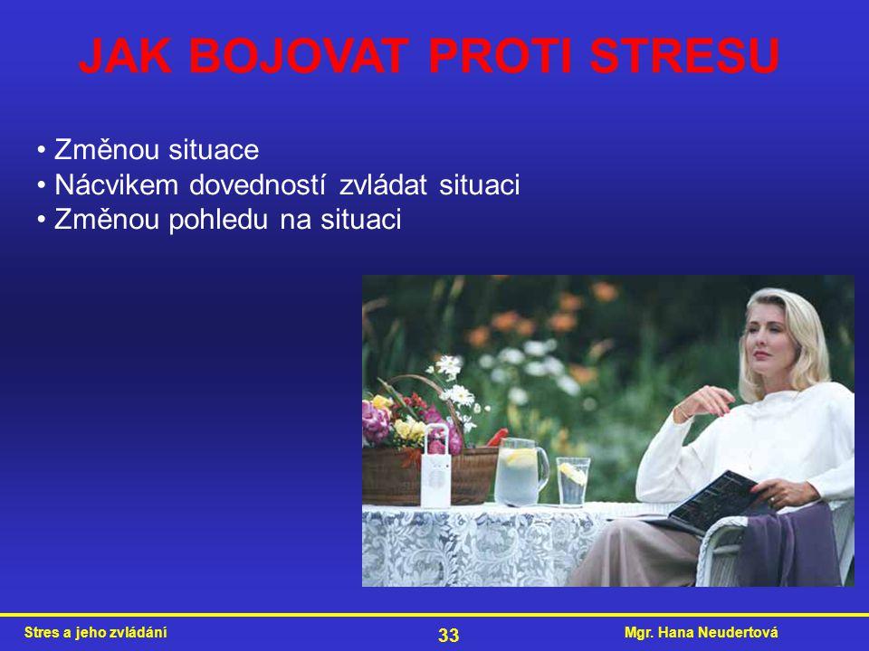 Mgr. Hana NeudertováStres a jeho zvládání 33 JAK BOJOVAT PROTI STRESU Změnou situace Nácvikem dovedností zvládat situaci Změnou pohledu na situaci