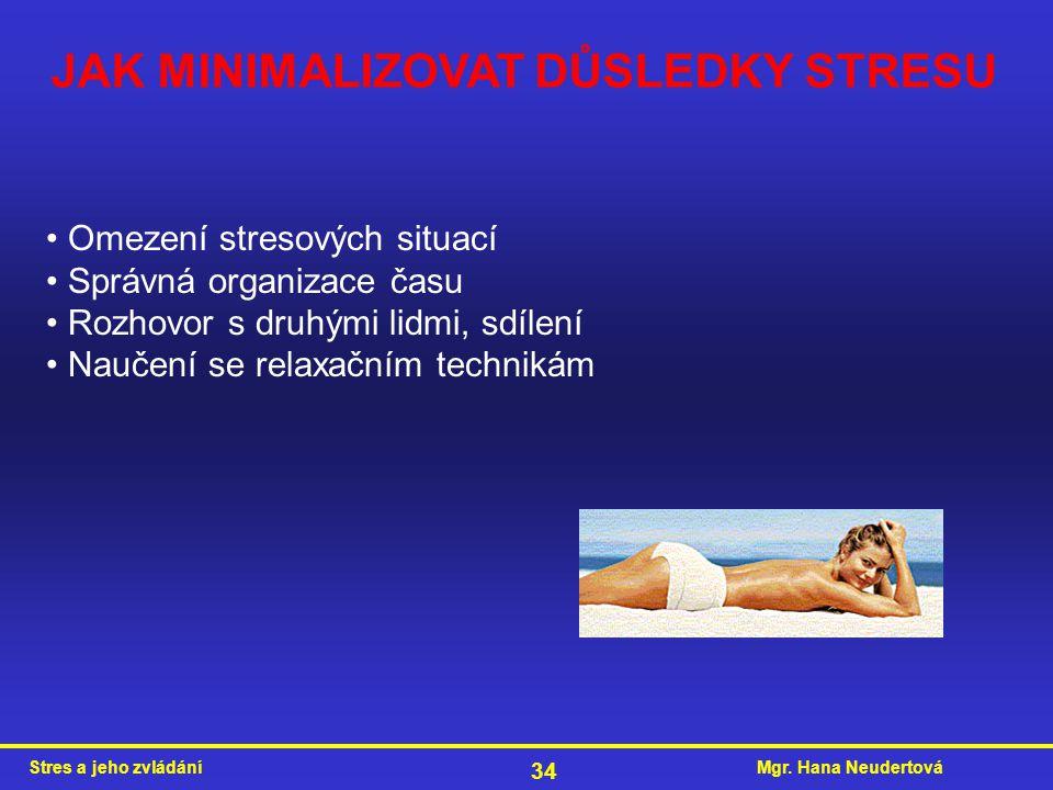 Mgr. Hana NeudertováStres a jeho zvládání 34 JAK MINIMALIZOVAT DŮSLEDKY STRESU Omezení stresových situací Správná organizace času Rozhovor s druhými l