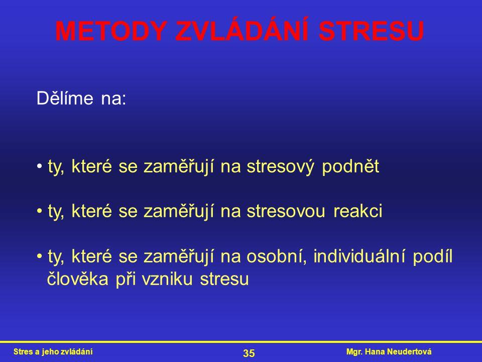 Mgr. Hana NeudertováStres a jeho zvládání 35 METODY ZVLÁDÁNÍ STRESU Dělíme na: ty, které se zaměřují na stresový podnět ty, které se zaměřují na stres