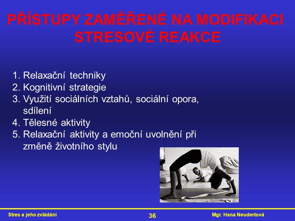 Mgr. Hana NeudertováStres a jeho zvládání 36 PŘÍSTUPY ZAMĚŘENÉ NA MODIFIKACI STRESOVÉ REAKCE 1. Relaxační techniky 2. Kognitivní strategie 3. Využití