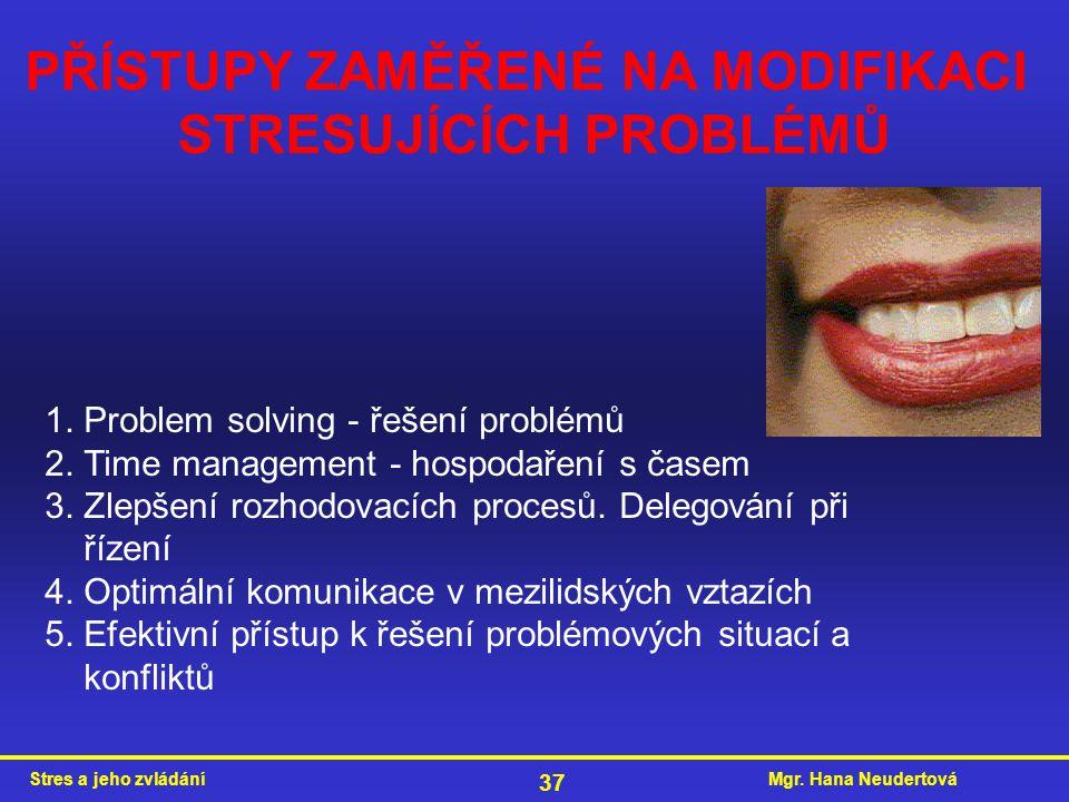 Mgr. Hana NeudertováStres a jeho zvládání 37 PŘÍSTUPY ZAMĚŘENÉ NA MODIFIKACI STRESUJÍCÍCH PROBLÉMŮ 1. Problem solving - řešení problémů 2. Time manage