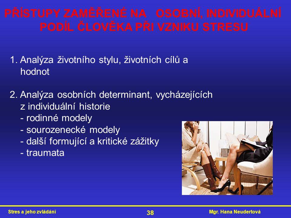Mgr. Hana NeudertováStres a jeho zvládání 38 PŘÍSTUPY ZAMĚŘENÉ NA OSOBNÍ, INDIVIDUÁLNÍ PODÍL ČLOVĚKA PŘI VZNIKU STRESU 1. Analýza životního stylu, živ
