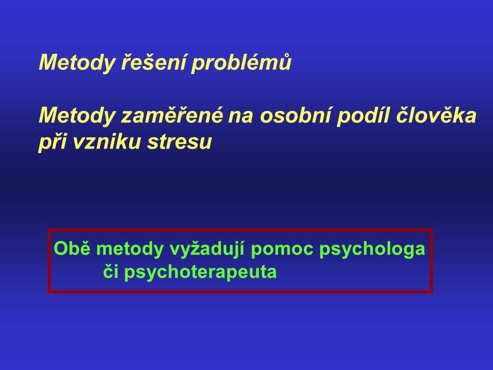Metody řešení problémů Metody zaměřené na osobní podíl člověka při vzniku stresu Obě metody vyžadují pomoc psychologa či psychoterapeuta