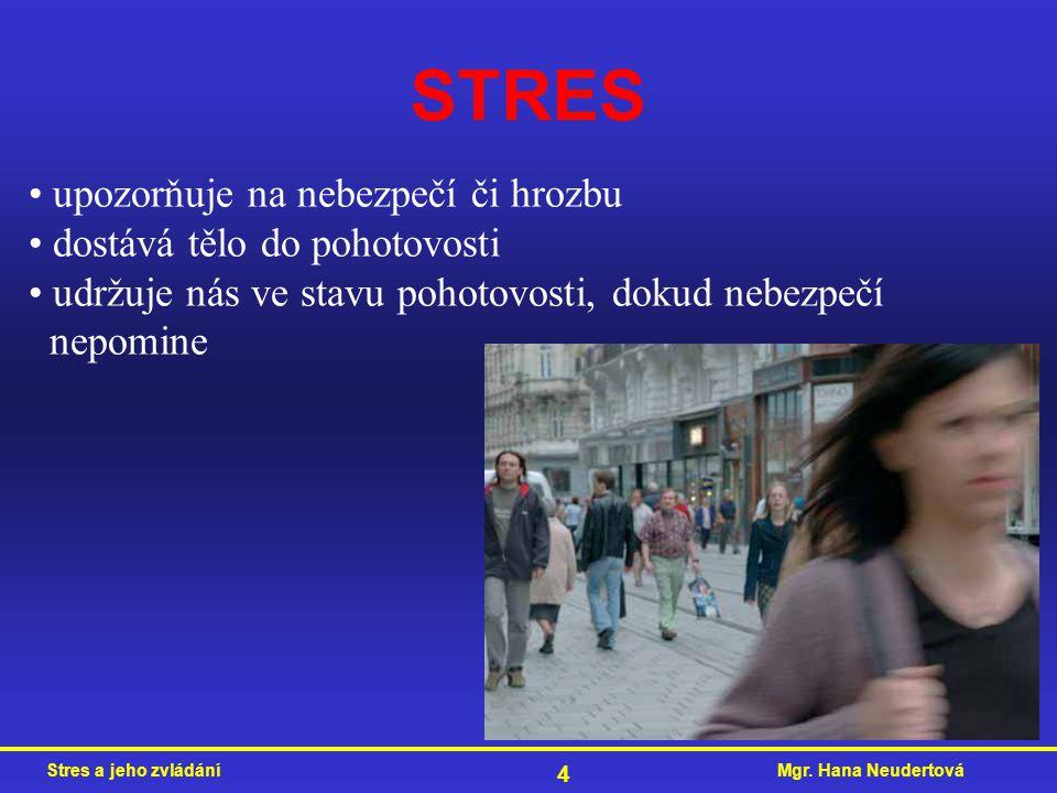 Mgr. Hana NeudertováStres a jeho zvládání 4 STRES upozorňuje na nebezpečí či hrozbu dostává tělo do pohotovosti udržuje nás ve stavu pohotovosti, doku