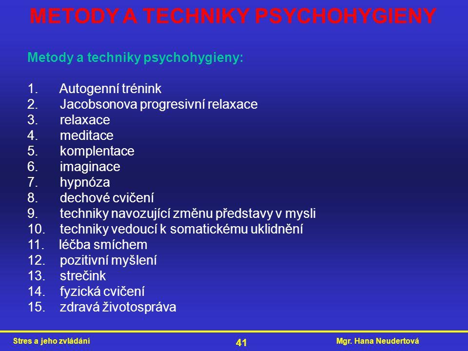 Mgr. Hana NeudertováStres a jeho zvládání 41 Metody a techniky psychohygieny: 1. Autogenní trénink 2. Jacobsonova progresivní relaxace 3. relaxace 4.