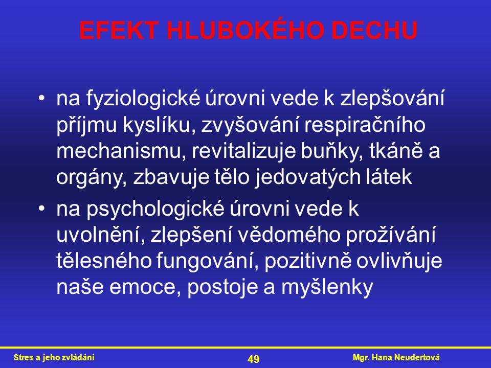 Mgr. Hana NeudertováStres a jeho zvládání 49 EFEKT HLUBOKÉHO DECHU na fyziologické úrovni vede k zlepšování příjmu kyslíku, zvyšování respiračního mec