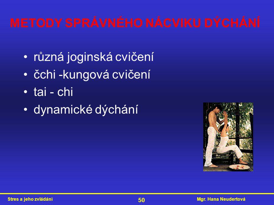 Mgr. Hana NeudertováStres a jeho zvládání 50 METODY SPRÁVNÉHO NÁCVIKU DÝCHÁNÍ různá joginská cvičení čchi -kungová cvičení tai - chi dynamické dýchání