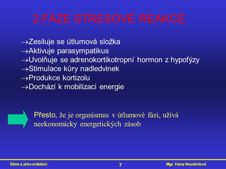 Mgr. Hana NeudertováStres a jeho zvládání 7 2.FÁZE STRESOVÉ REAKCE  Zesiluje se útlumová složka  Aktivuje parasympatikus  Uvolňuje se adrenokortiko