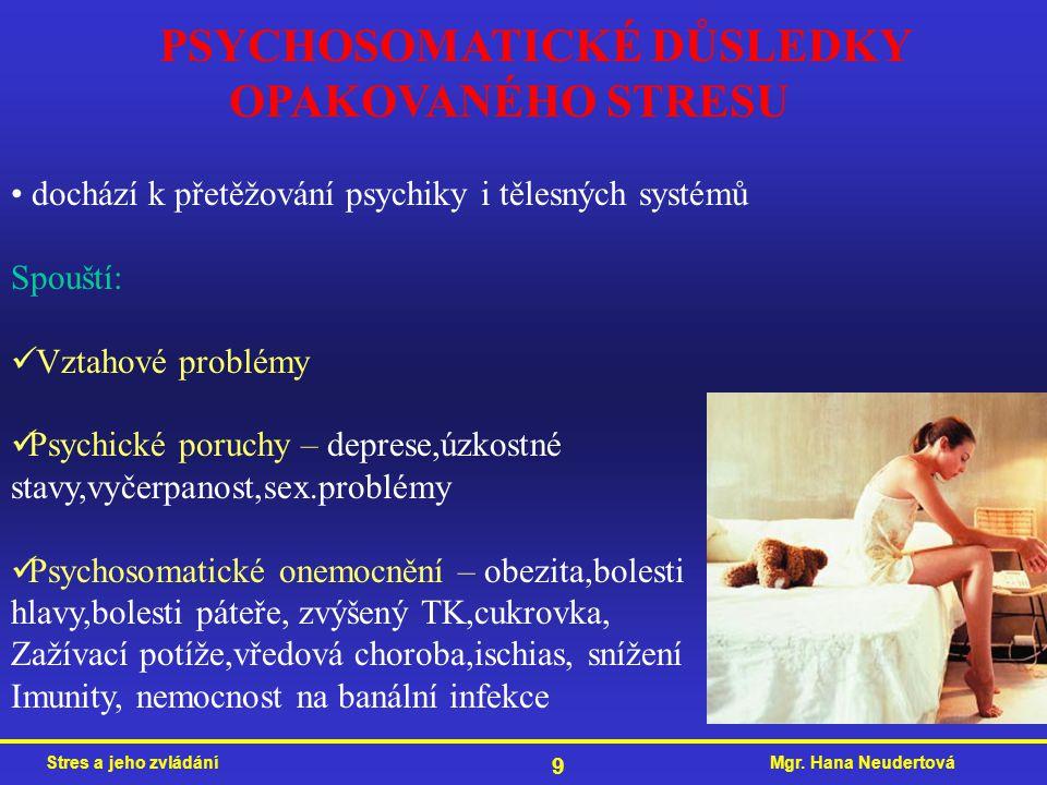Mgr. Hana NeudertováStres a jeho zvládání 9 PSYCHOSOMATICKÉ DŮSLEDKY OPAKOVANÉHO STRESU dochází k přetěžování psychiky i tělesných systémů Spouští: Vz