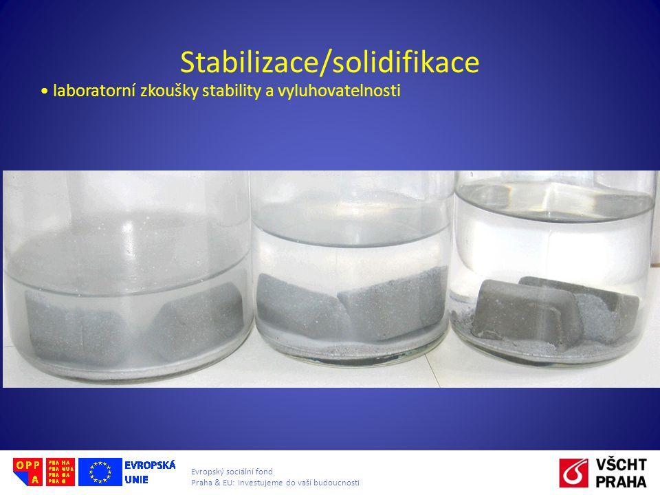 Evropský sociální fond Praha & EU: Investujeme do vaší budoucnosti Stabilizace/solidifikace laboratorní zkoušky stability a vyluhovatelnosti
