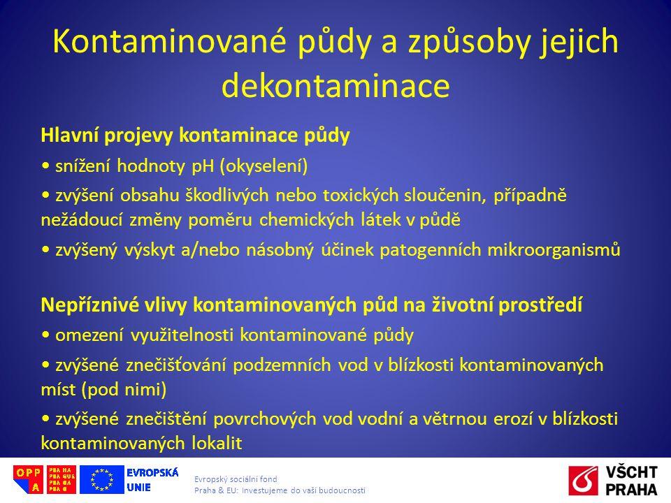 Evropský sociální fond Praha & EU: Investujeme do vaší budoucnosti Kontaminované půdy a způsoby jejich dekontaminace Hlavní projevy kontaminace půdy snížení hodnoty pH (okyselení) zvýšení obsahu škodlivých nebo toxických sloučenin, případně nežádoucí změny poměru chemických látek v půdě zvýšený výskyt a/nebo násobný účinek patogenních mikroorganismů Nepříznivé vlivy kontaminovaných půd na životní prostředí omezení využitelnosti kontaminované půdy zvýšené znečišťování podzemních vod v blízkosti kontaminovaných míst (pod nimi) zvýšené znečištění povrchových vod vodní a větrnou erozí v blízkosti kontaminovaných lokalit