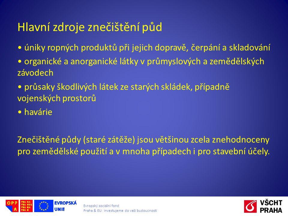 Evropský sociální fond Praha & EU: Investujeme do vaší budoucnosti Hlavní zdroje znečištění půd úniky ropných produktů při jejich dopravě, čerpání a skladování organické a anorganické látky v průmyslových a zemědělských závodech průsaky škodlivých látek ze starých skládek, případně vojenských prostorů havárie Znečištěné půdy (staré zátěže) jsou většinou zcela znehodnoceny pro zemědělské použití a v mnoha případech i pro stavební účely.