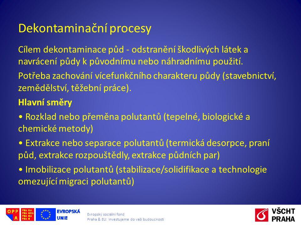 Evropský sociální fond Praha & EU: Investujeme do vaší budoucnosti Dekontaminační procesy Cílem dekontaminace půd - odstranění škodlivých látek a navrácení půdy k původnímu nebo náhradnímu použití.