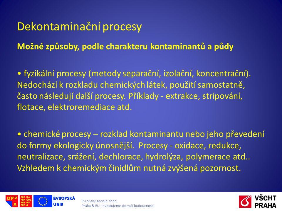 Evropský sociální fond Praha & EU: Investujeme do vaší budoucnosti Dekontaminační procesy Možné způsoby, podle charakteru kontaminantů a půdy fyzikální procesy (metody separační, izolační, koncentrační).