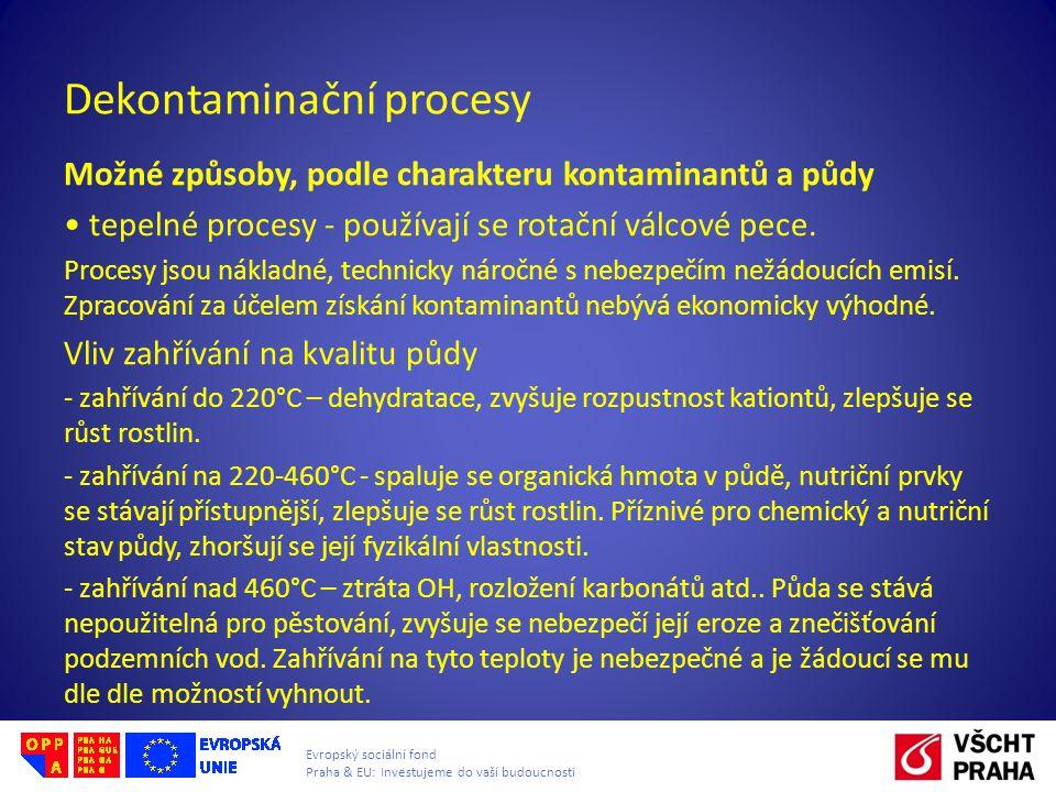 Evropský sociální fond Praha & EU: Investujeme do vaší budoucnosti Dekontaminační procesy Možné způsoby, podle charakteru kontaminantů a půdy tepelné procesy - používají se rotační válcové pece.