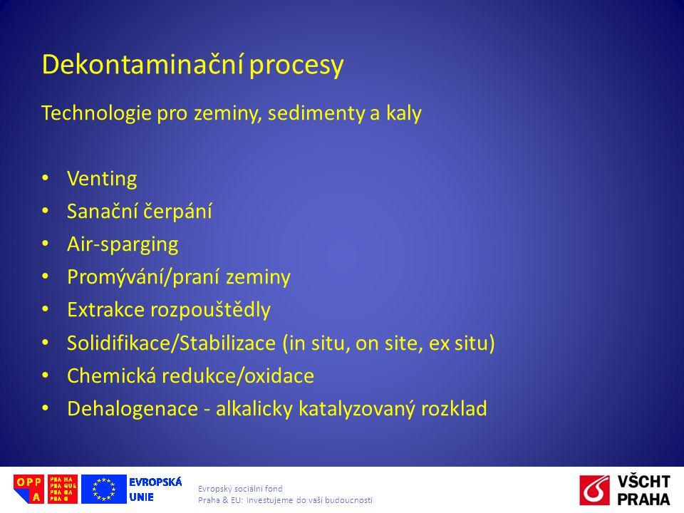 Evropský sociální fond Praha & EU: Investujeme do vaší budoucnosti Dekontaminační procesy Technologie pro zeminy, sedimenty a kaly Venting Sanační čer