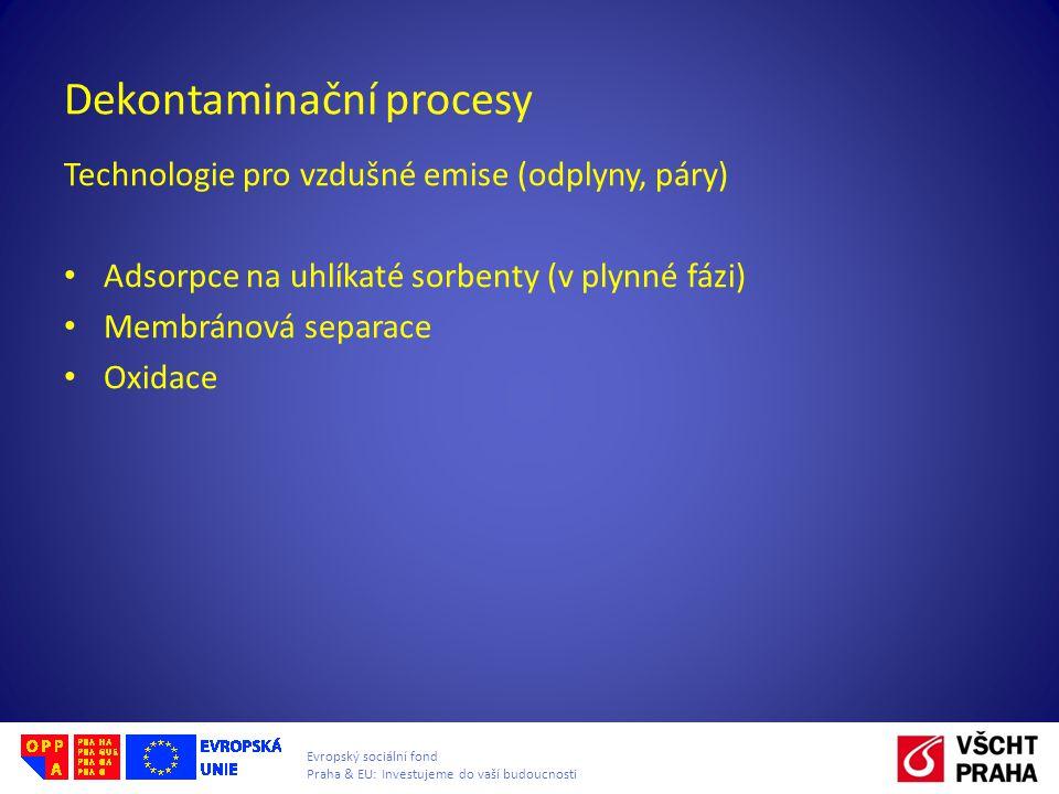 Evropský sociální fond Praha & EU: Investujeme do vaší budoucnosti Dekontaminační procesy Technologie pro vzdušné emise (odplyny, páry) Adsorpce na uhlíkaté sorbenty (v plynné fázi) Membránová separace Oxidace