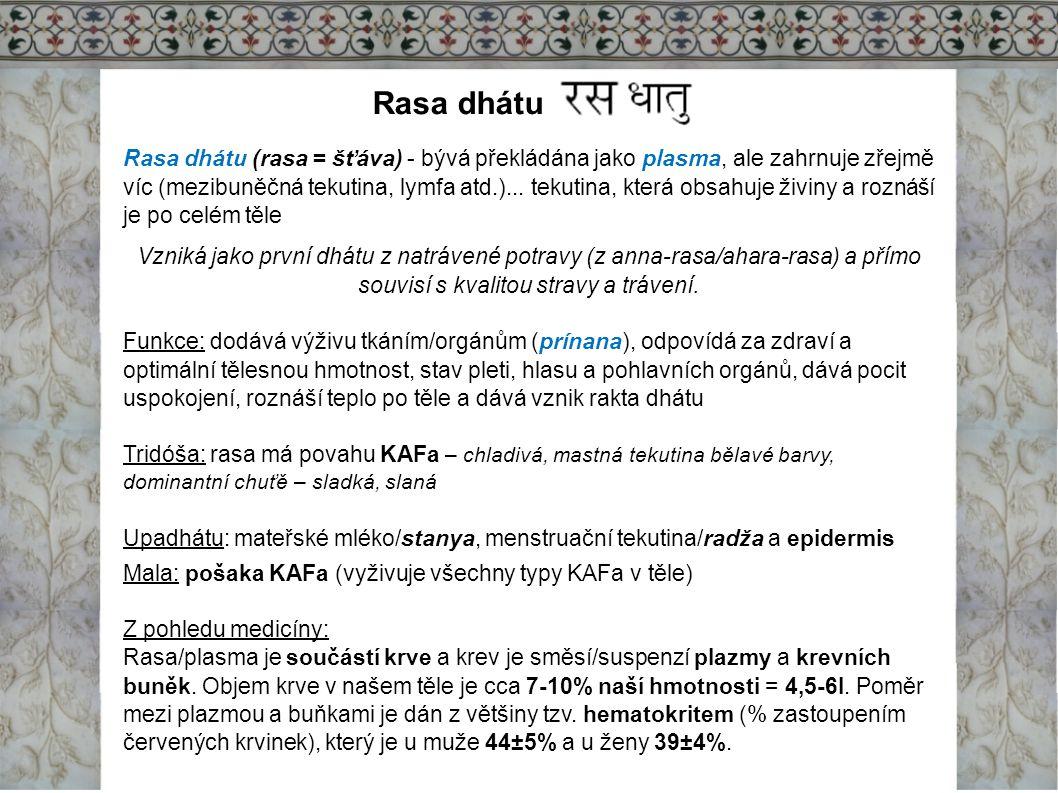 Rasa dhátu Rasa dhátu (rasa = šťáva) - bývá překládána jako plasma, ale zahrnuje zřejmě víc (mezibuněčná tekutina, lymfa atd.)... tekutina, která obsa