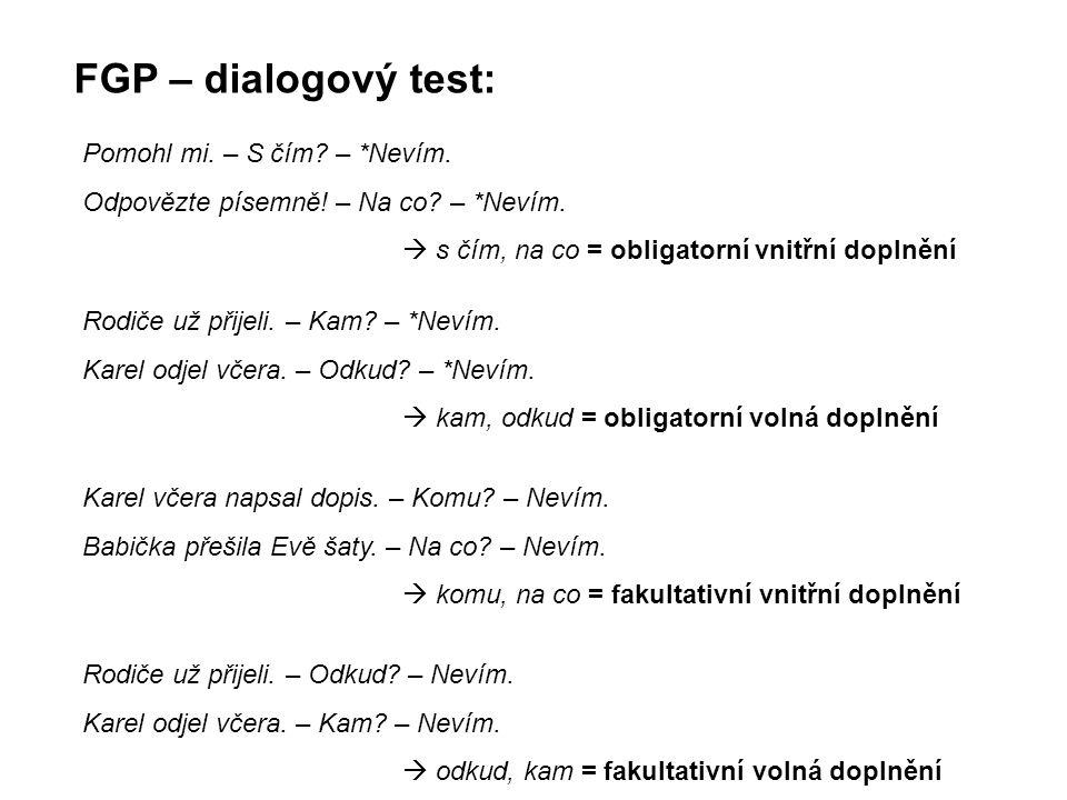 FGP – dialogový test: Pomohl mi. – S čím? – *Nevím. Odpovězte písemně! – Na co? – *Nevím.  s čím, na co = obligatorní vnitřní doplnění Rodiče už přij