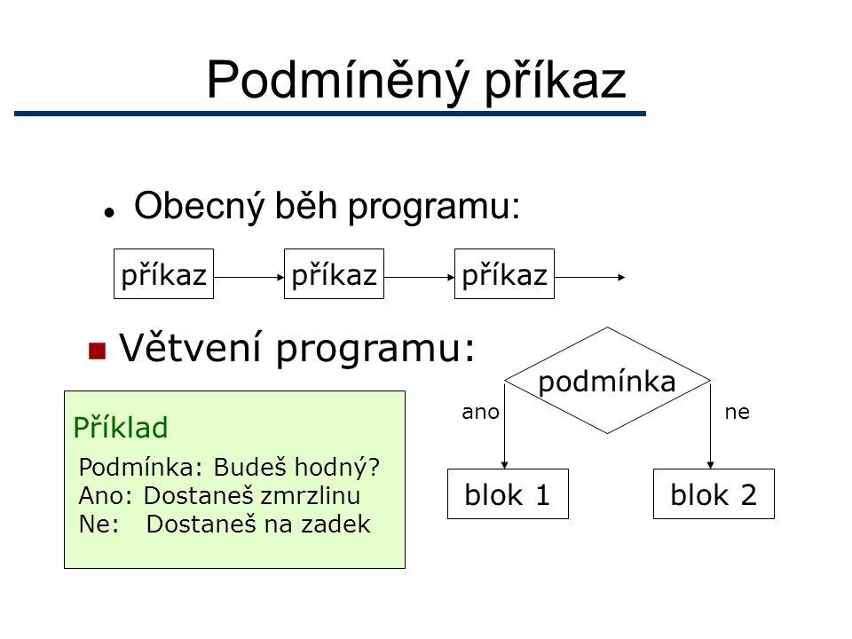 Podmíněný příkaz Obecný běh programu: příkaz Větvení programu: podmínka blok 1blok 2 anone Příklad Podmínka: Budeš hodný.