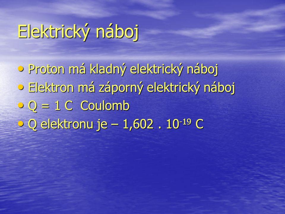 Proton má kladný elektrický náboj Proton má kladný elektrický náboj Elektron má záporný elektrický náboj Elektron má záporný elektrický náboj Q = 1 C